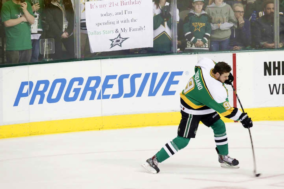 Looks like Tyler Seguin got one of the green North Stars jerseys.