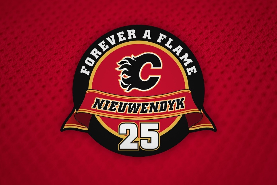 The Flames used this logo to mark Friday night's festivities.