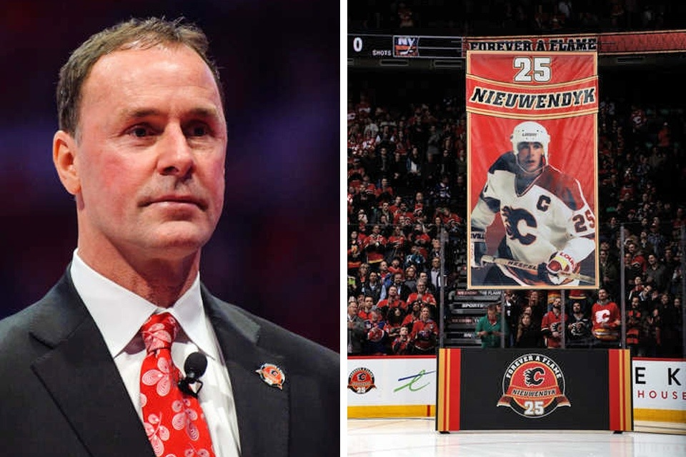Joe Nieuwendyk's No. 25 is honored in Calgary.