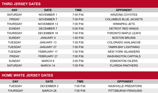Schedule from Hurricanes website