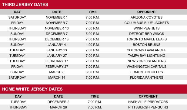 Schedule from Hurricanes website