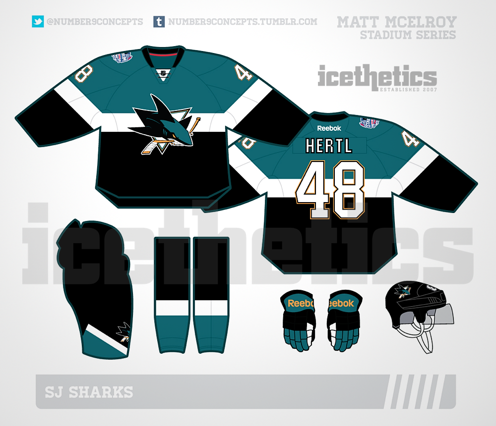 San Jose Sharks 2015 Stadium Series jersey // rendering for Icethetics by Matt McElroy