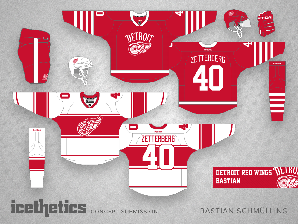 1678fba54 Bastian Schmülling originally submitted these designs as two separate  alternate jerseys for the Detroit Red Wings. But as a pair