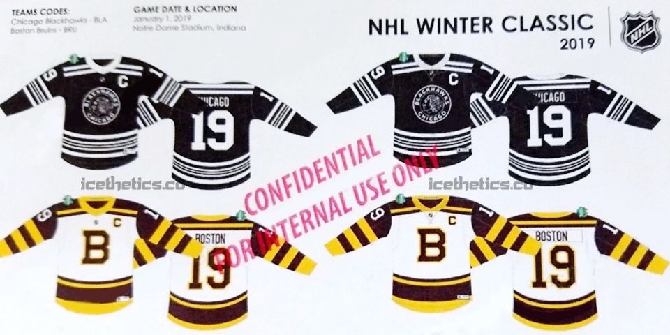 Leaked image of Bruins and Blackhawks jerseys for 2019 NHL Winter Classic