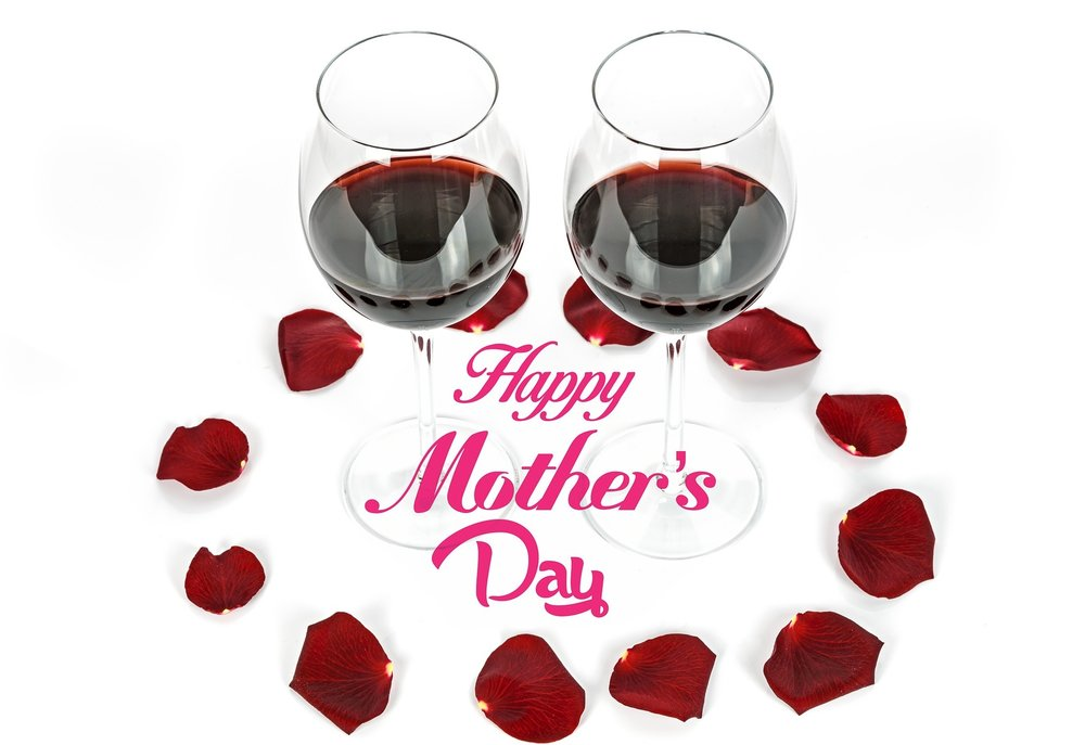Two Glasses Rose Petals Mothers Day