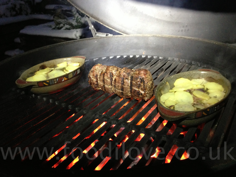 Chateaubriand  with Dauphinoise Potatoes cooked on the  Braai/BigGreenEgg