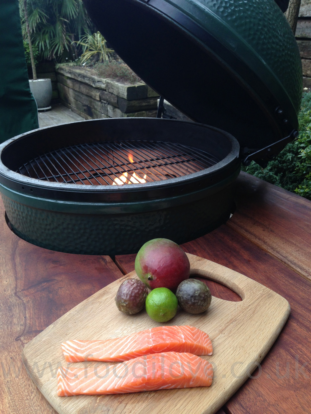 Wild Salmon with Mango & Granadilla Salsa on the Braai/BigGreenEgg