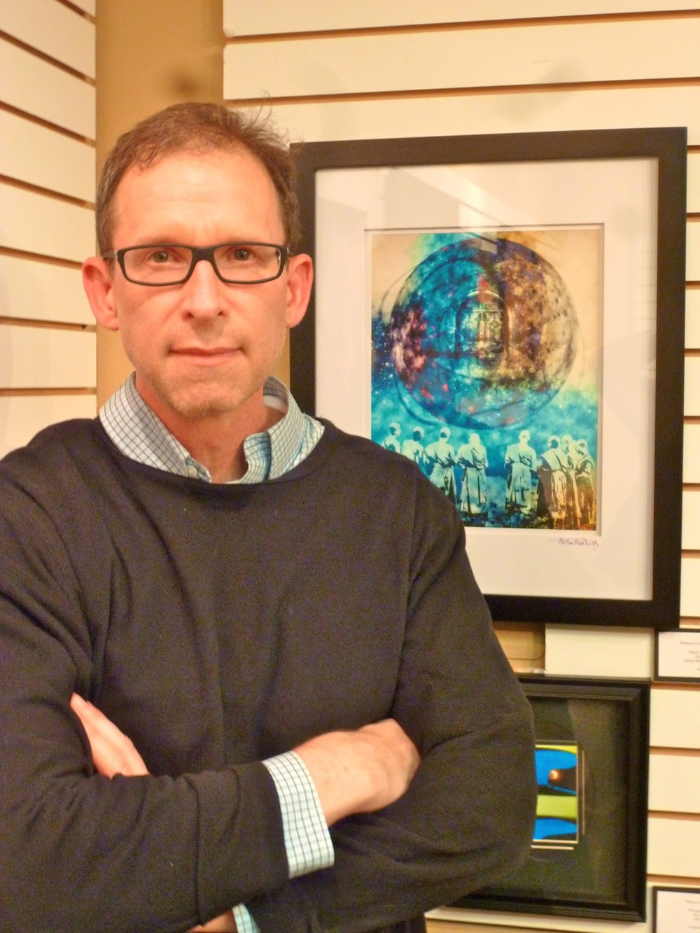 "Me with my latest work, ""Planetary Contemplations."" Photograph by Elizabeth Gordon"