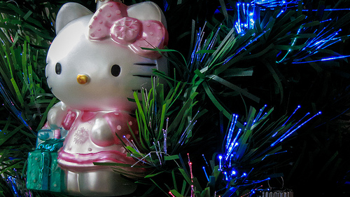 Hello Kitty says stay warm!