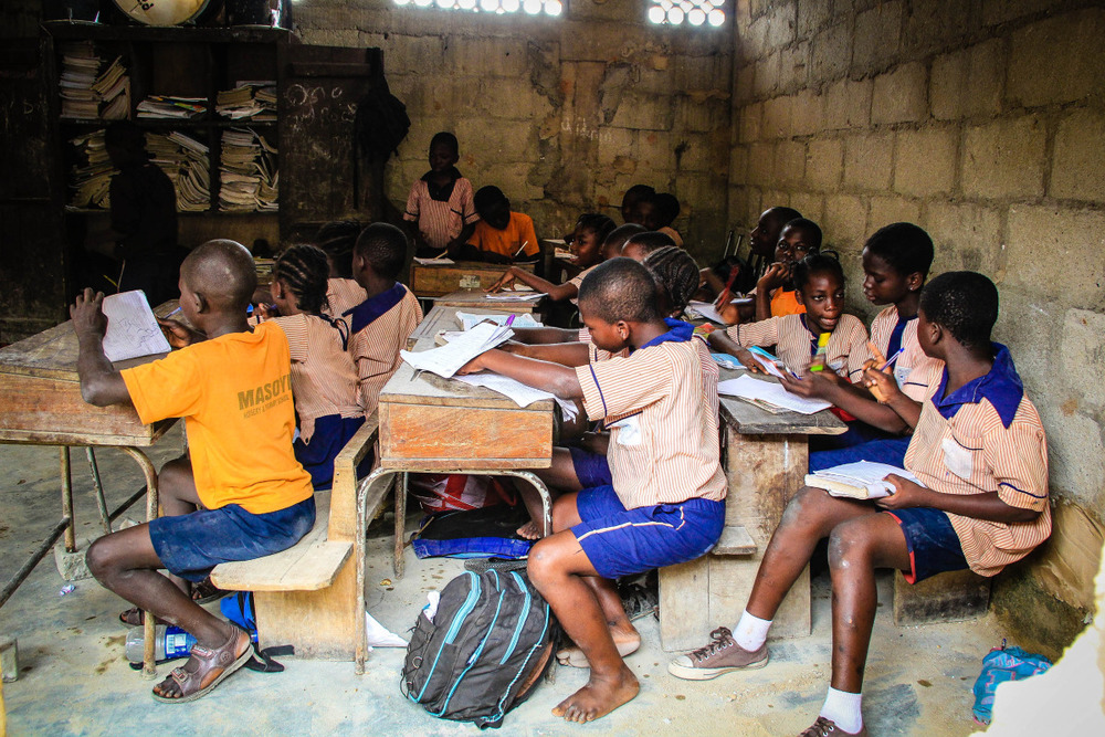 Ilaje Community School, where 100 children have access to free education (as well as basic health care and one nutritious meal per day) as part of the 3 Essential Services program.