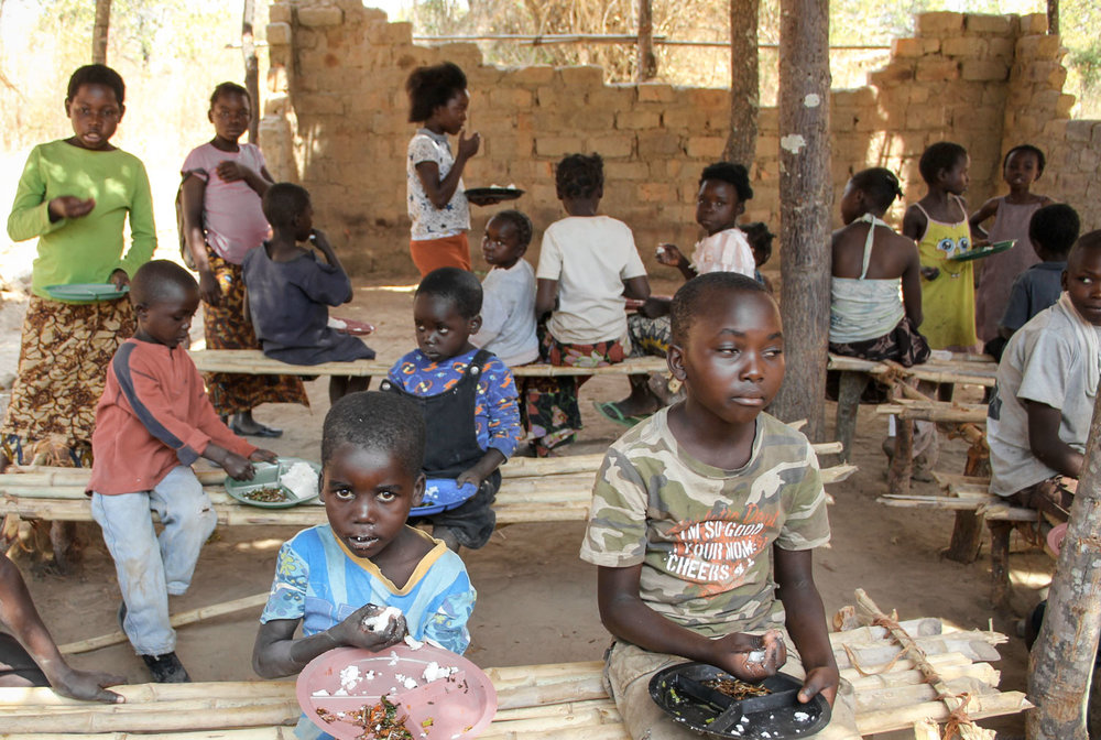 100 of the most vulnerable children in Maposa receive a daily meal, access to education and access to basic health care.