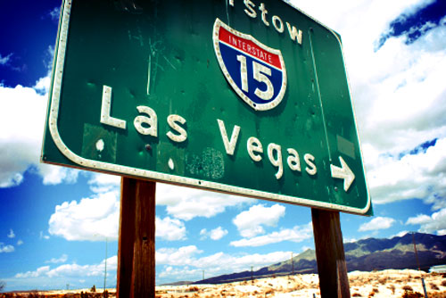 Interstate 15 sign at Barstow to Las Vegas