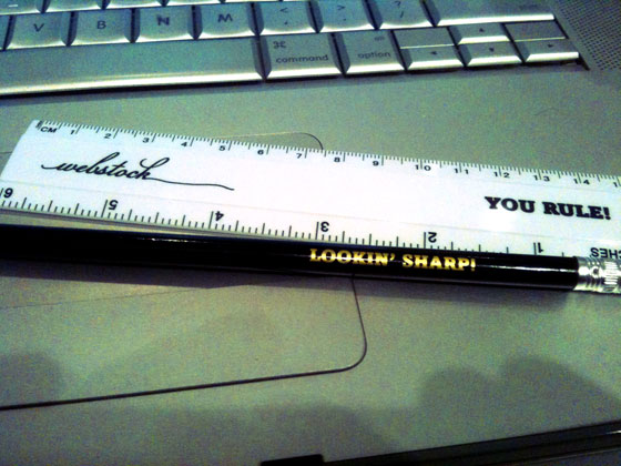 pencil and ruler from Webstock swag
