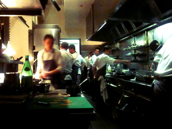 view of the kitchen from our table at Vue de Monde