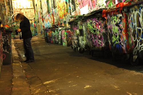 Hosier Lane, Melbourne - graffiti rubbish bins