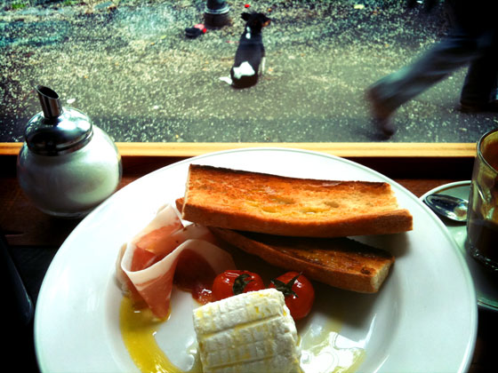 sour dough, ricotta, panchetta, extra virgin olive  oil - brunch at De Clieu on Gertrude Street, Melboune