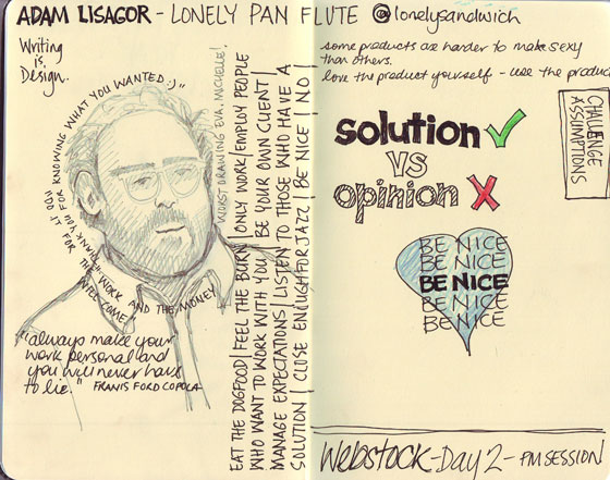 sketchnotes for Adam Lisagor talk at Webstock 2012