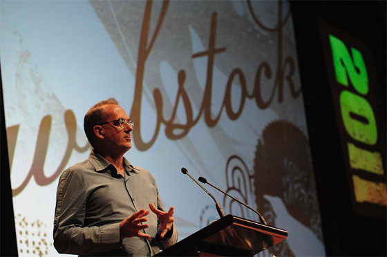 Mike Brown welcoming us to Webstock 2011 conference