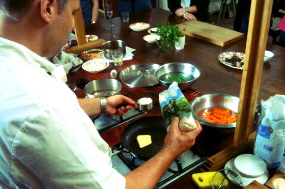 chef making caramel sauce