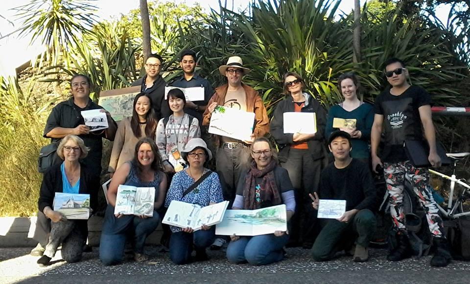 Big Draw group showing work at Judges Bay.