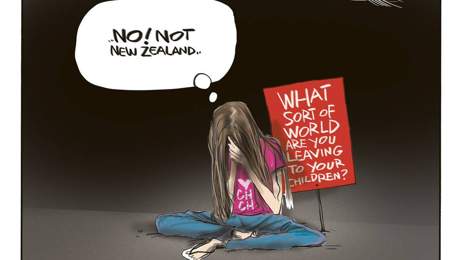 Mass shootings in mosques around Christchurch - NZ's Darkest Day - and on the day that school children around the world unite to protest Climate Change. Illustration / Rod Emmerson
