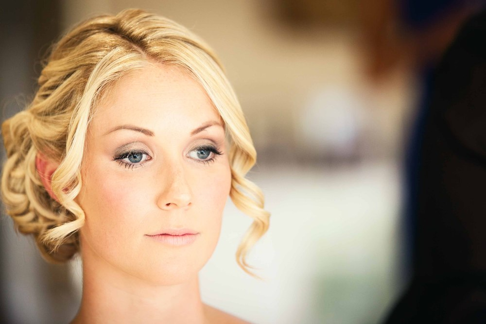 Fiona the bride during wedding hair and make up
