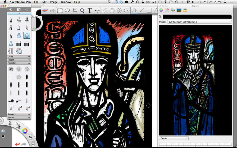 Left: Detail of head in Sketchbook Pro. Right: Original photograph of panel