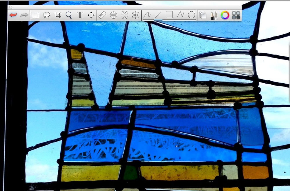 Detail showing glass on the easel, with a painted layer added in Sketchbook Pro.