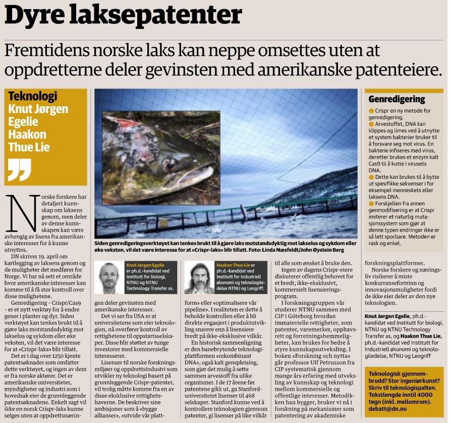 Innlegg i Dagens Næringsliv 10. juni 2016 av Knut Jørgen Egelie (NTNU TTO og ph.d -kandidat) og Haakont Thue Lie,som er på samme forsknignsgruppe ved NTNU, og samarbeider med CIP.