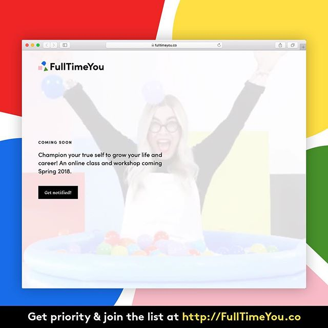 Our little Meg has been working her butt off these last few months on creating her own online (& IRL) class called #FullTimeYou! Good news! It's almost ready. Bop over to the link on the image to sign up and get notified when this thing is launched. There will be limited seats!