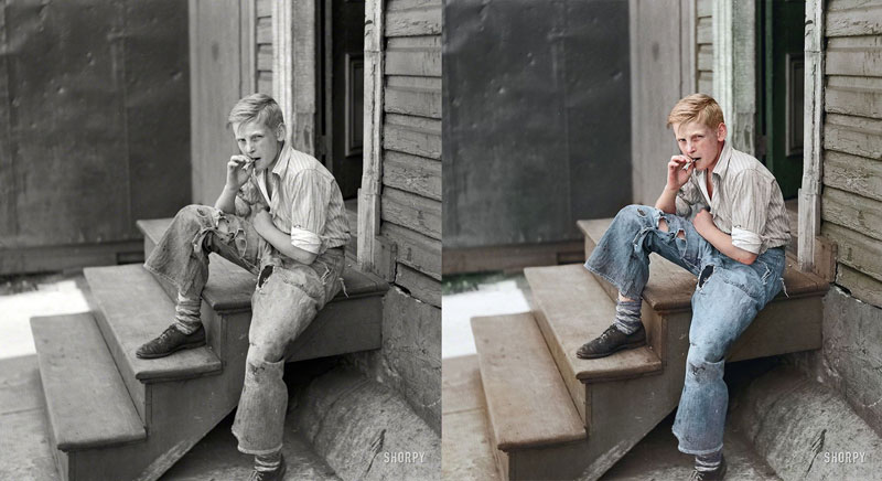 Young boy in Baltimore slum area, July 1938  Original Photograph by  John Vachon  |  Prints available @ Shorpy.com   Colorized by  Jordan J. Lloyd (photojacker on Reddit)