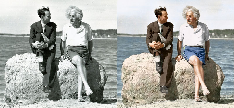 Albert Einstein, Summer 1939  Nassau Point, Long Island, NY  Colorized by  Edvos on Reddit  |  Paul Edwards