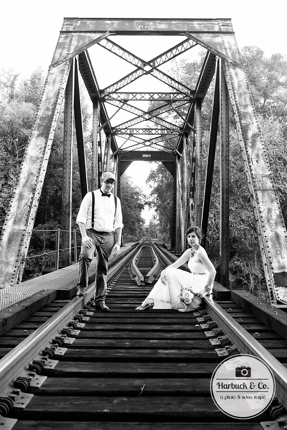 Such an epic photo on an old RR bridge. Gotta love the black & white for this one!