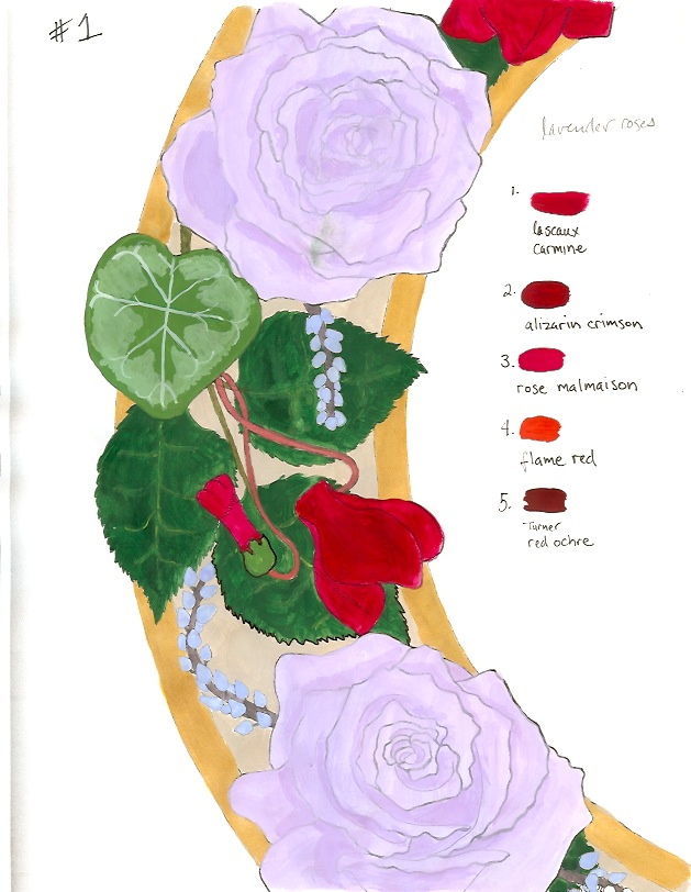 Roses and Cyclamen Custom Ketubah detail 3