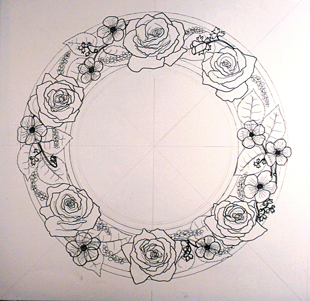 Roses and Cyclamen Custom Ketubah detail 1