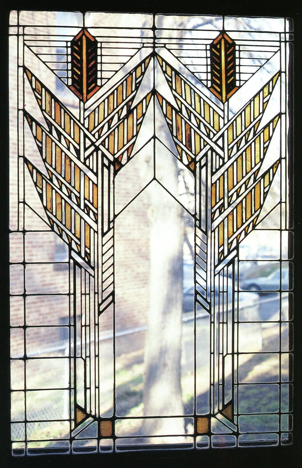 Founders hall ketubah ketubah arts for Art deco glass windows
