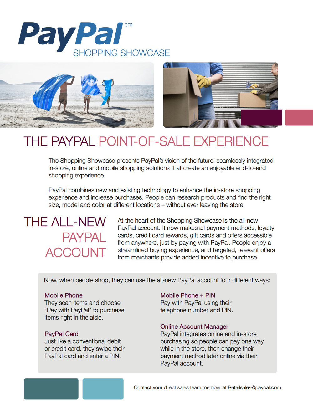 PayPaI: Shopping Showcase – Sell Sheet (Front)