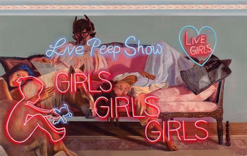 Panni Malek, Peep Show, oil on linen