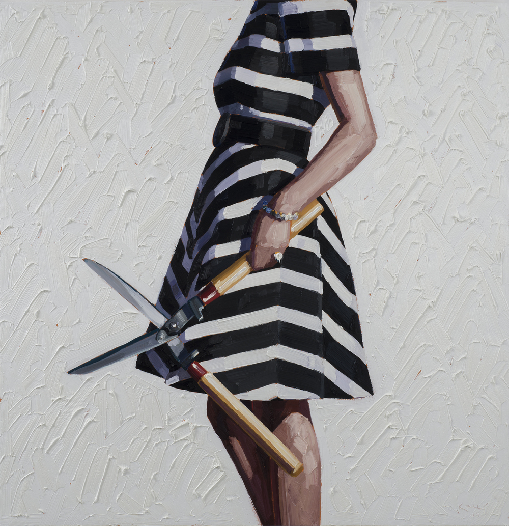 Shear Pleasure, 2015, oil on panel, 44 in x 44 in.