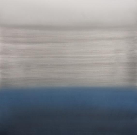 Summer Blue River, 2014, urethane and pigment on aluminum, 48 x 48 inches/122 x 122 cm