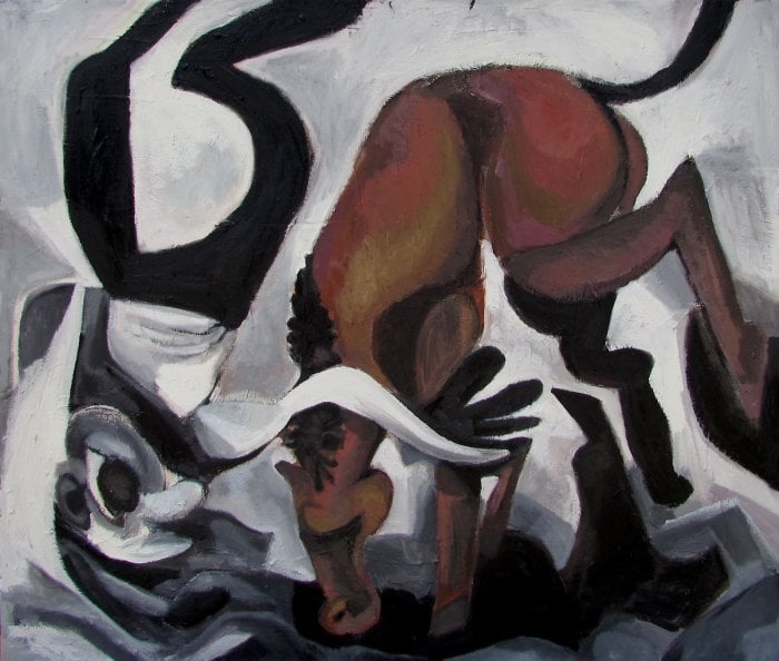'Angry Horse', oil on canvas, 2014. From the solo exhibit  'Riding Dualism', New York, 2014.