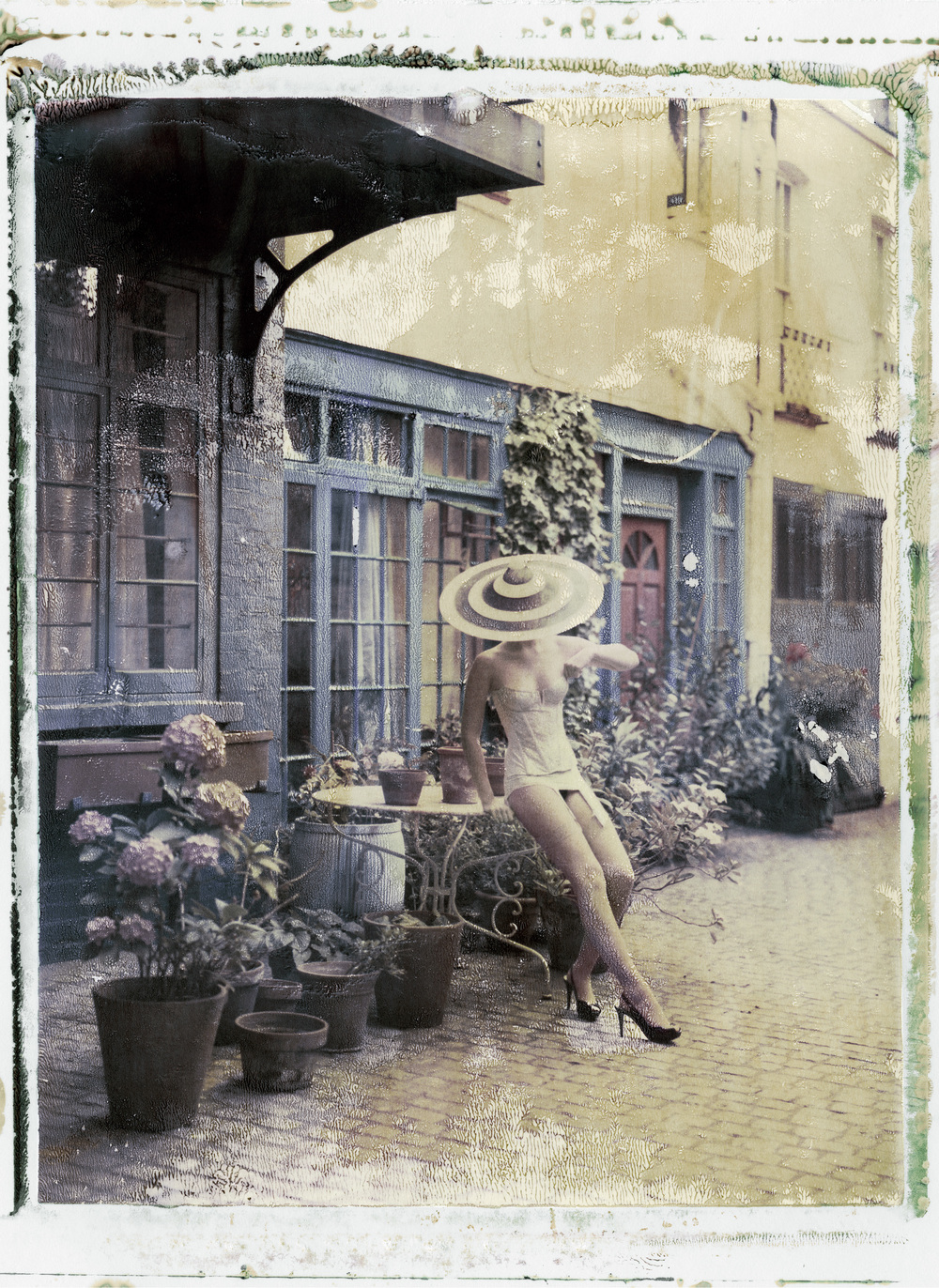 4PM IN LONDON, PHILIP TREACY (HAT), CADOLLE (LINGERIE) , 200.  Chromogenic print from original polaroid, 24 x 20 inches (60 x 50 cm).   ©   Cathleen Naundorf / Courtesy Edwynn Houk Gallery, New York & Zürich