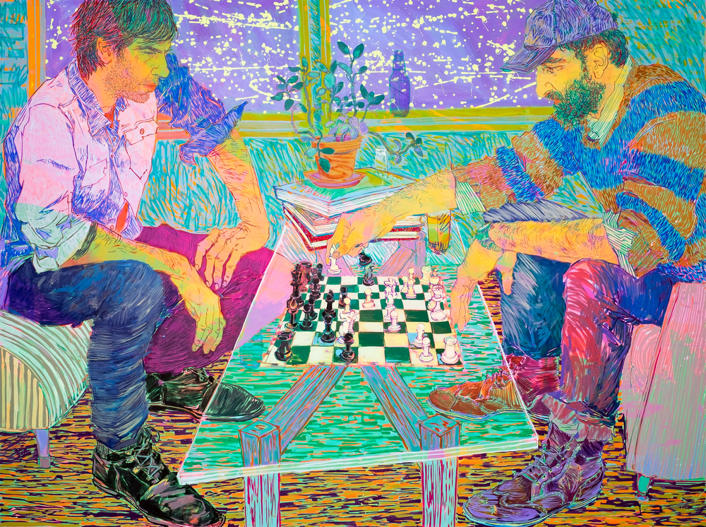 Hope Gangloff,   Bodner/Caivano Chess Match , 2016, Acrylic on canvas, 72 x 96 in. Images courtesy of Susan Inglett Gallery and Richard Heller Gallery. Photography by: Donald Stahl
