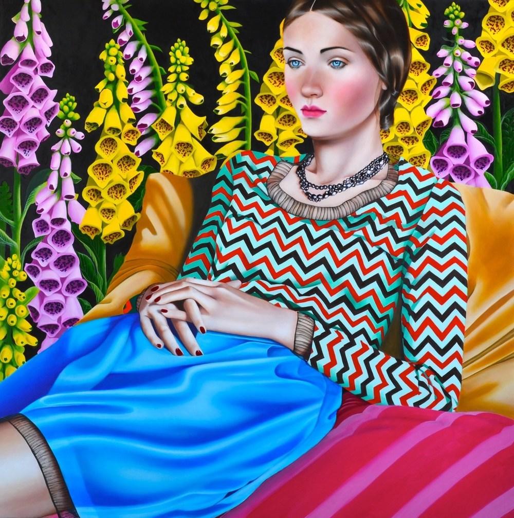 Foxglove  , 2014.   Oil on canvas.   30 x 30 inches . **Courtesy of Fredericks & Freiser, NY.