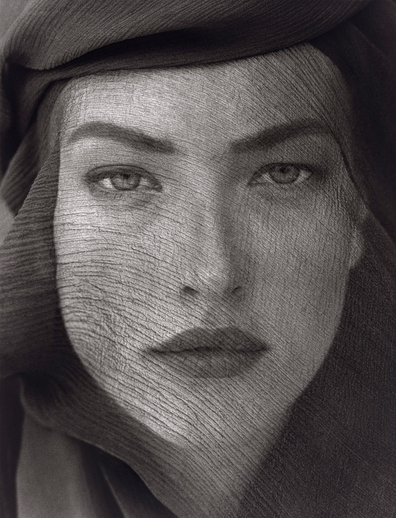 Herb Ritts  (American, 1952-2002)  Tatjana Veiled Head, Tight View, Joshua Tree  1988 Gelatin silver print Museum of Fine Arts, Boston Gift of Herb Ritts © Herb Ritts Foundation Photograph © Museum of Fine Arts, Boston