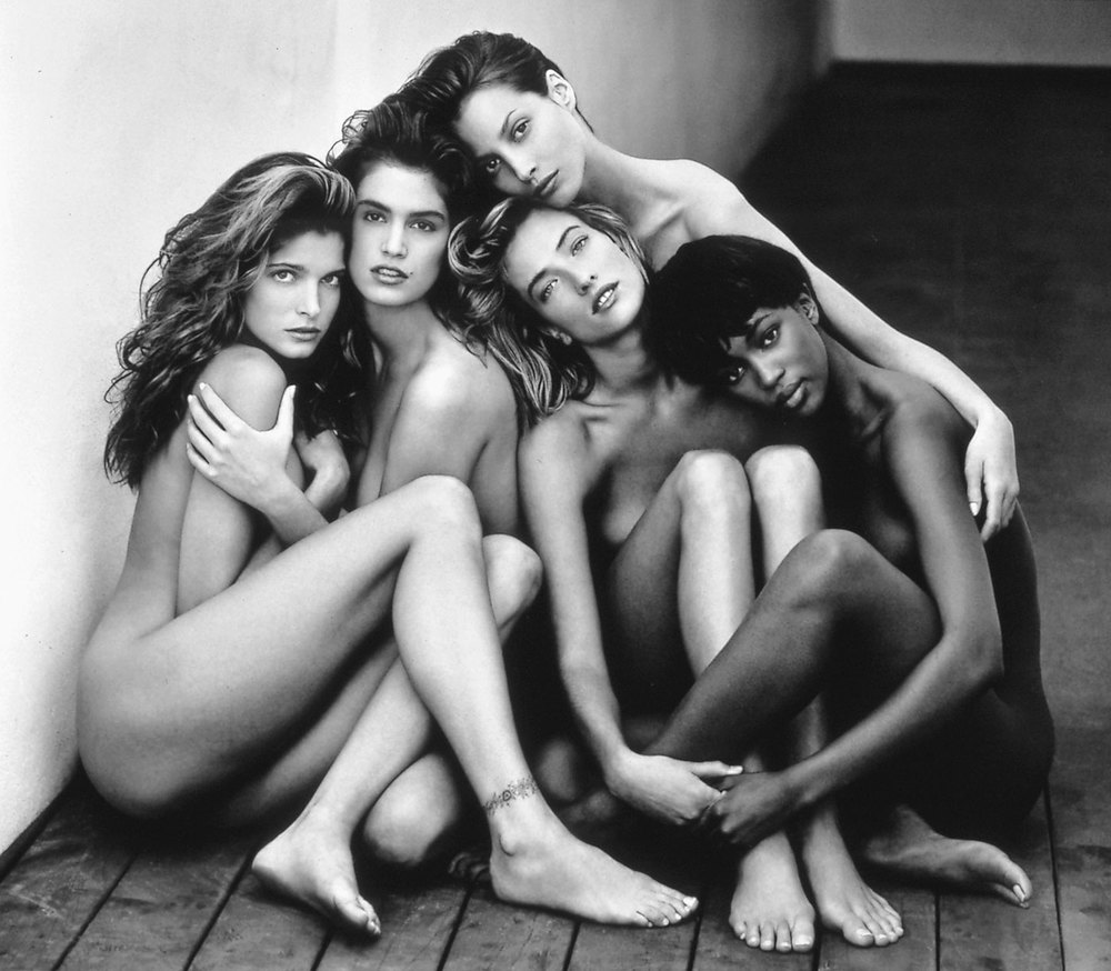 Herb Ritts  (American, 1952-2002)  Stephanie, Cindy, Christy, Tatjana, Naomi, Hollywood, 1989  1989 Gelatin silver print Museum of Fine Arts, Boston Gift of Herb Ritts Foundation © Herb Ritts Foundation Photograph © Museum of Fine Arts, Boston