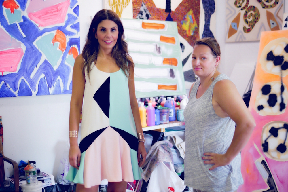 Maria Brito with the artist Katherine Bernhardt. Image courtesy of Maria Brito.
