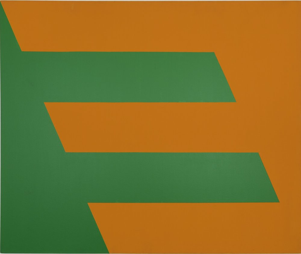 Carmen Herrera, Green and Orange, 1958. Acrylic on canvas, 60 x 72 in. (152.4 x 182.9 cm). Collection of Paul and Trudy Cejas © Carmen Herrera