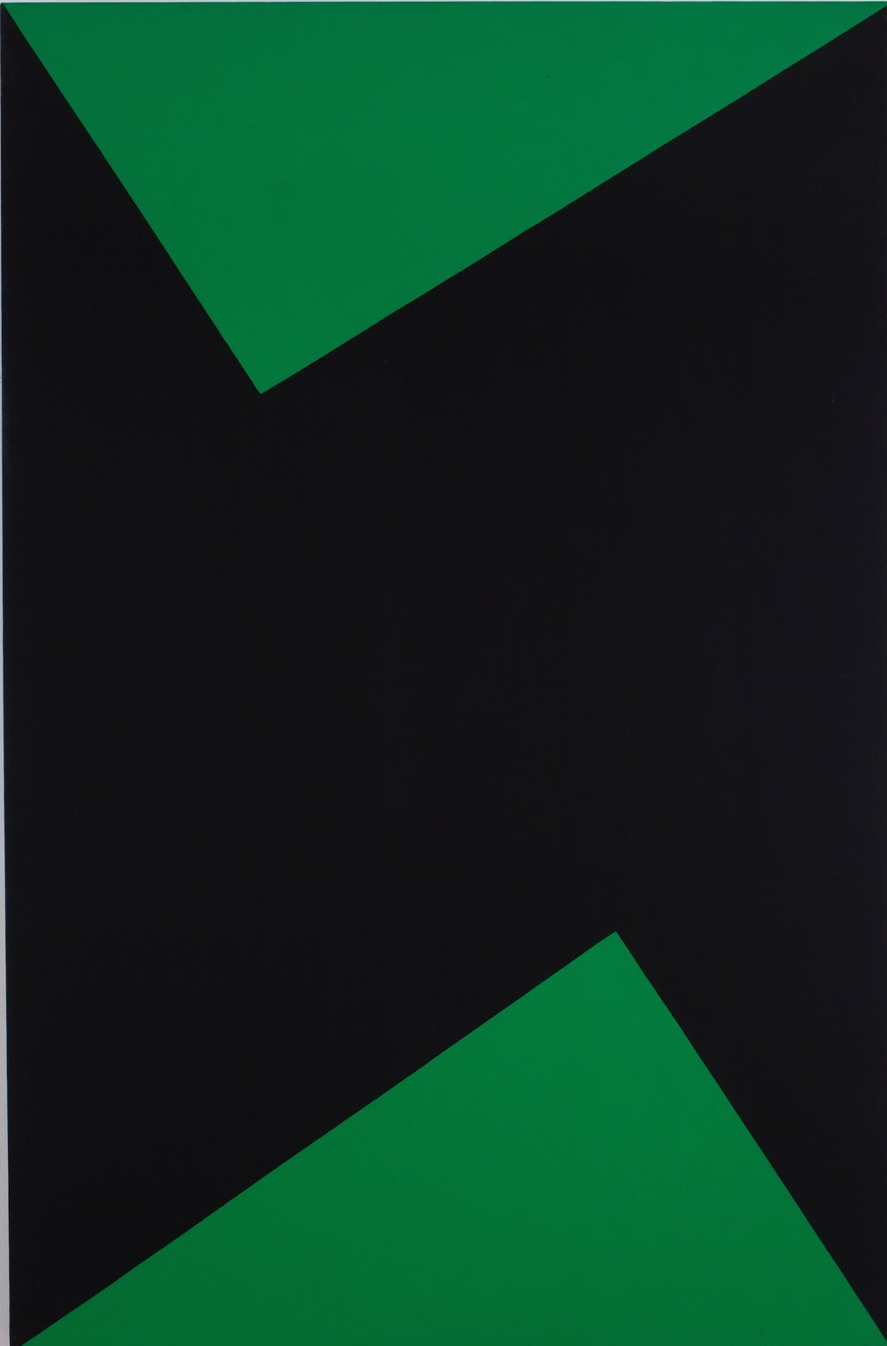 Carmen Herrera, Wednesday, 1978. Acrylic on canvas, 66 x 42 in. (167.6 x 106.7 cm). Museum Pfalzgalerie Kaiserslautern, Germany © Carmen Herrera