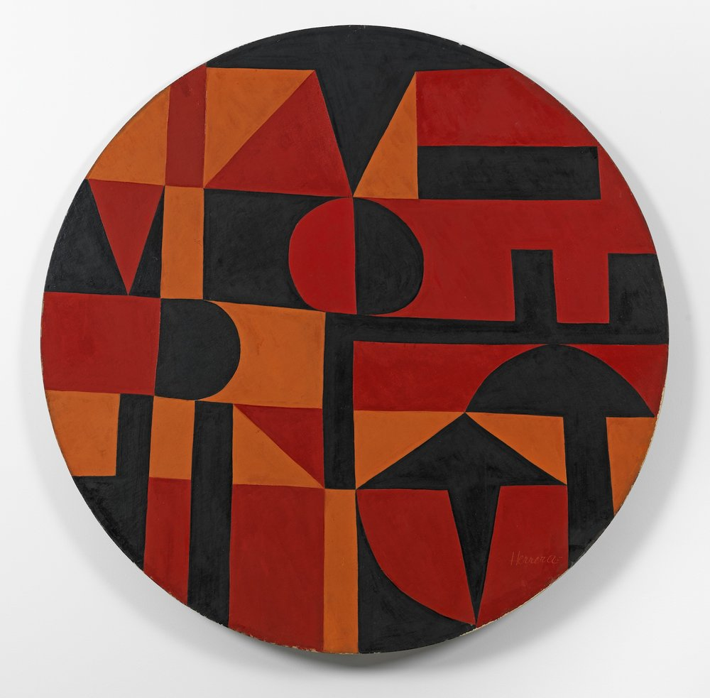 Carmen Herrera, Iberic, 1949. Acrylic on canvas on board, diameter: 40 in. (101.6 cm). Courtesy the artist and Lisson Gallery © Carmen Herrera